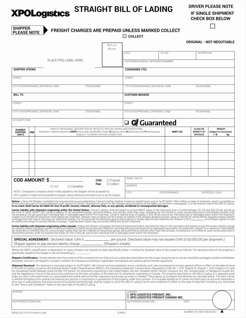 Free Bill Of Lading Template Elegant Bill Of Lading forms Templates In Word and Pdf Excel