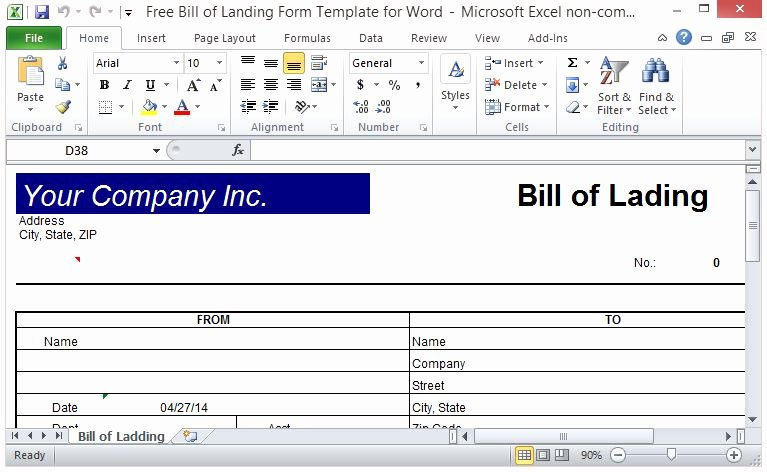 Free Bill Of Lading Template Inspirational Free Bill Of Lading form Template for Excel
