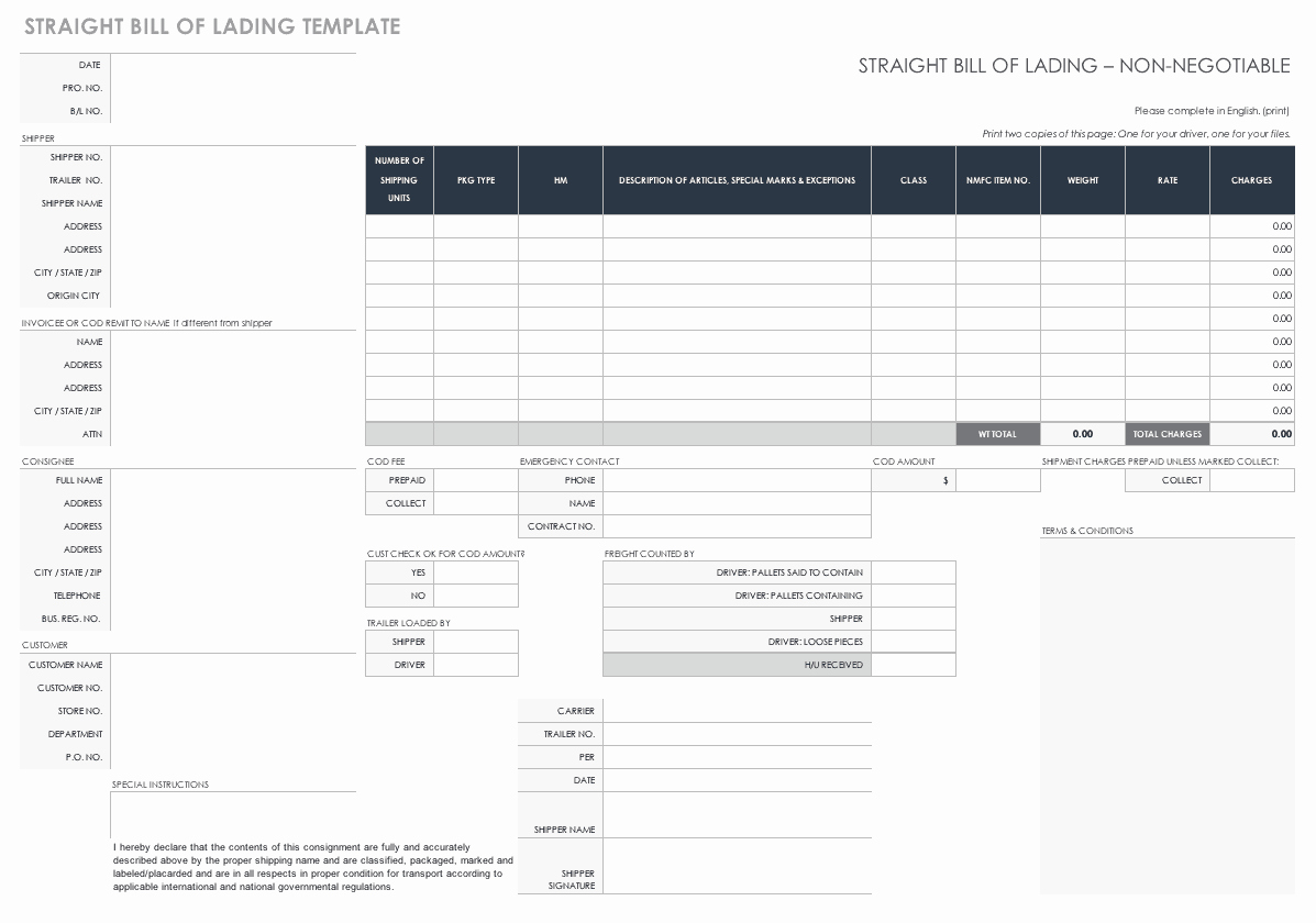 Free Bill Of Lading Template Lovely Free Bill Of Lading Templates