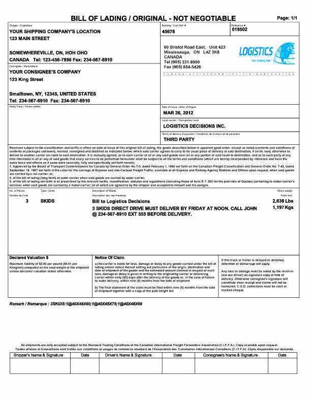 Free Bill Of Lading Template Luxury 21 Free Bill Of Lading Template Word Excel formats