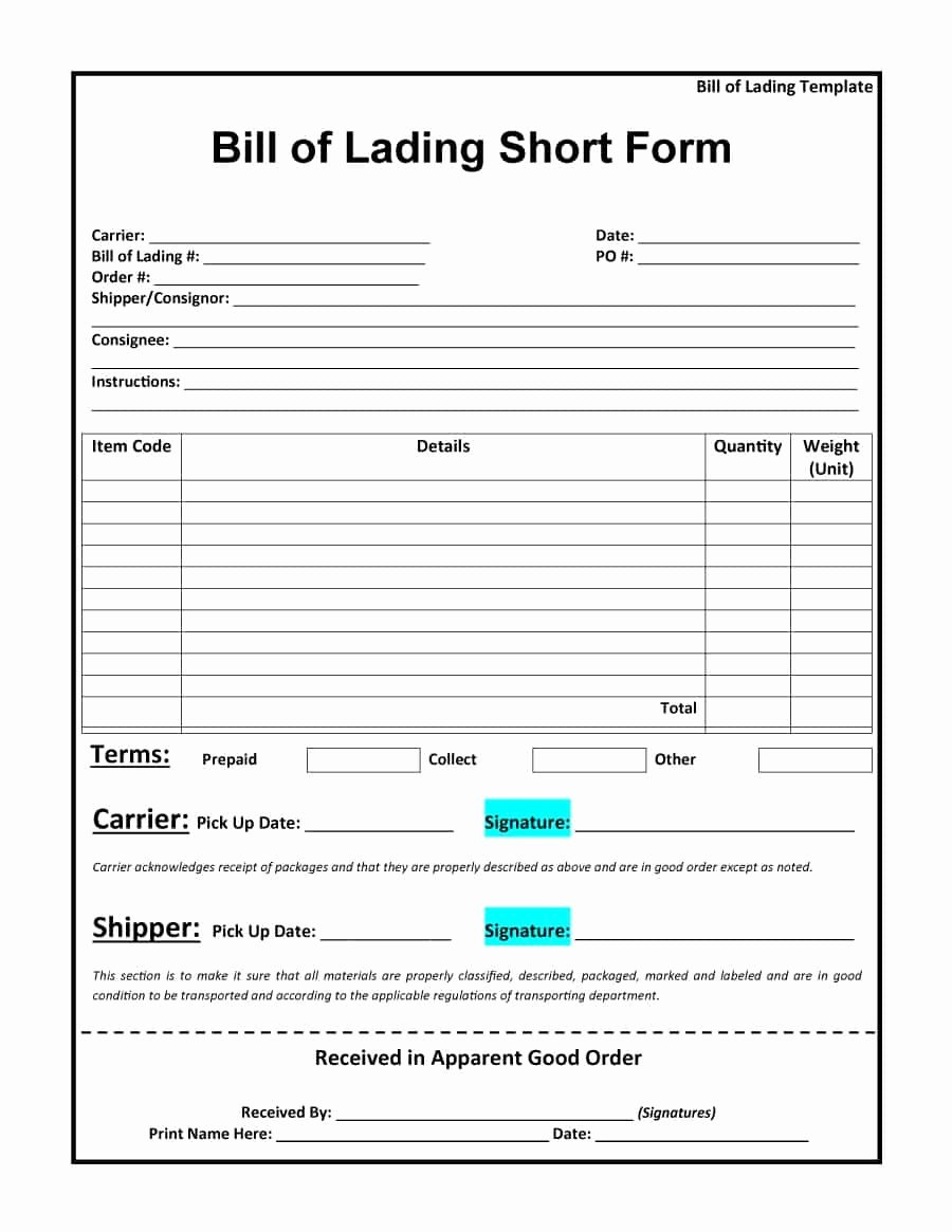 Free Bill Of Lading Template New 40 Free Bill Of Lading forms & Templates Template Lab