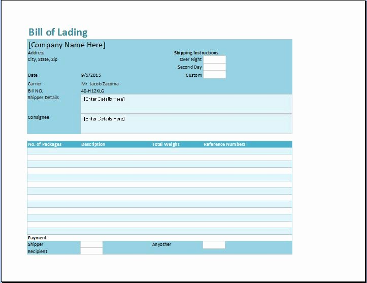 Free Bill Of Lading Template New Bill Of Lading Template