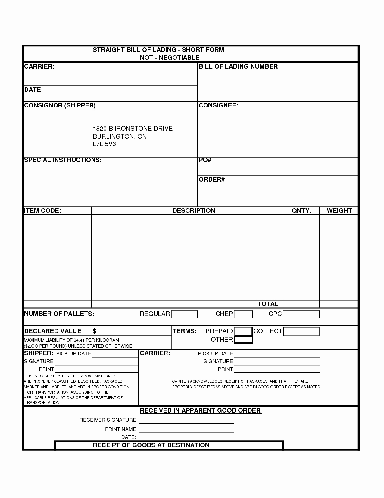 Free Bill Of Lading Template Unique Bill Lading Template