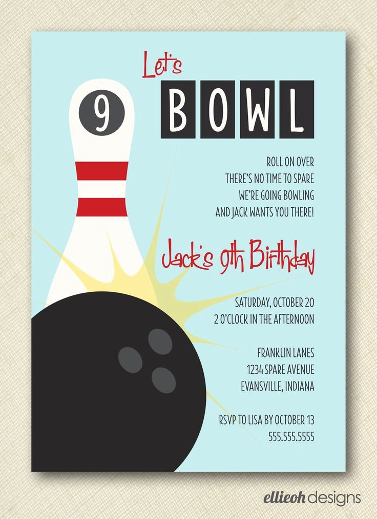 Free Bowling Invitation Template Lovely 31 Best Birthday Party Ideas Images On Pinterest