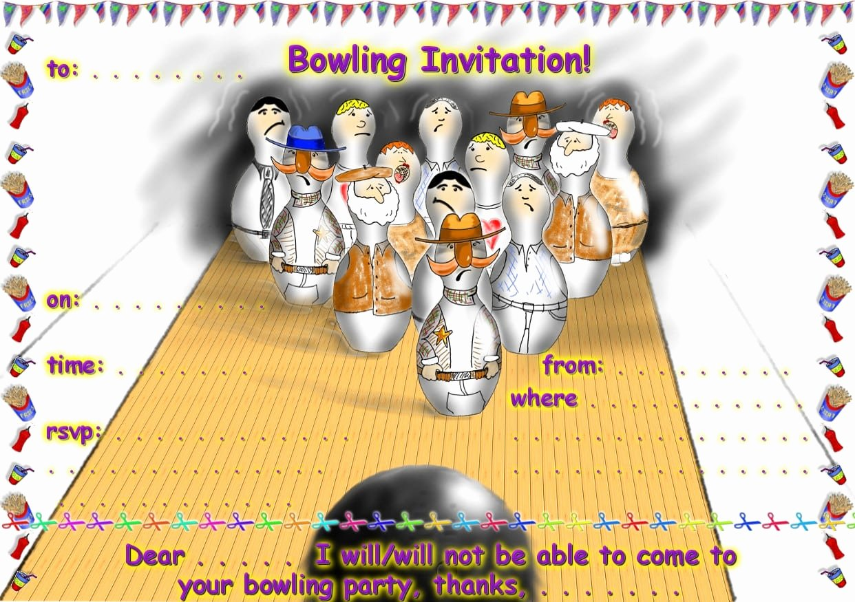 Free Bowling Invitations Template Awesome Free Bowling Party Invitation Printable