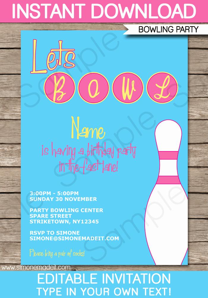 Free Bowling Invitations Template Beautiful Bowling Party Invitation Template Pink