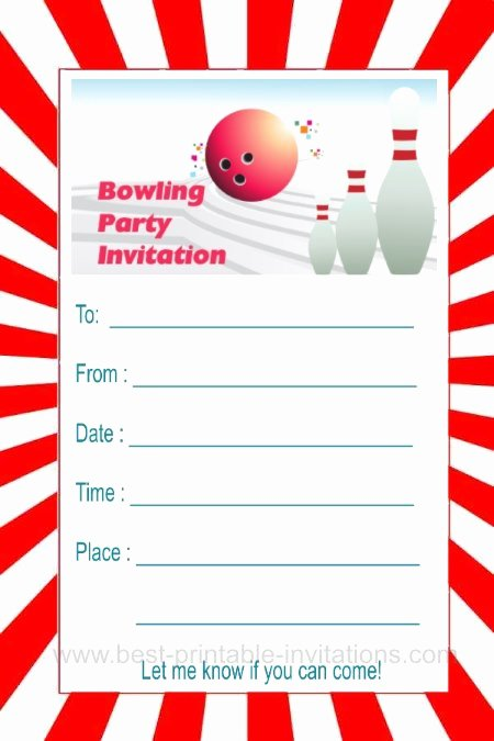 Free Bowling Invitations Template Lovely Bowling Party Invitations