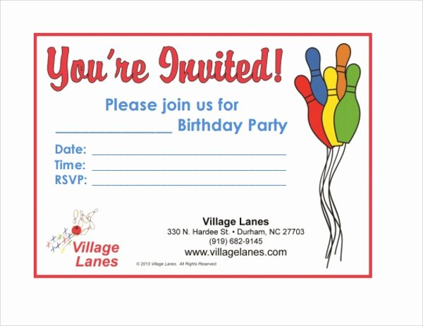 Free Bowling Invitations Template New Sample Bowling Invitation Template 9 Free Documents