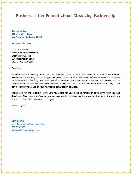 Free Business Letter Template Inspirational Business to Business Letter format