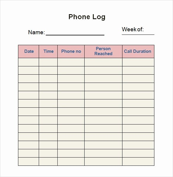 Free Call Log Template Beautiful 30 Sample Log Template Documents In Pdf Word Excel