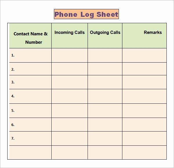 Free Call Log Template Beautiful Phone Log Template 8 Free Word Pdf Documents Download