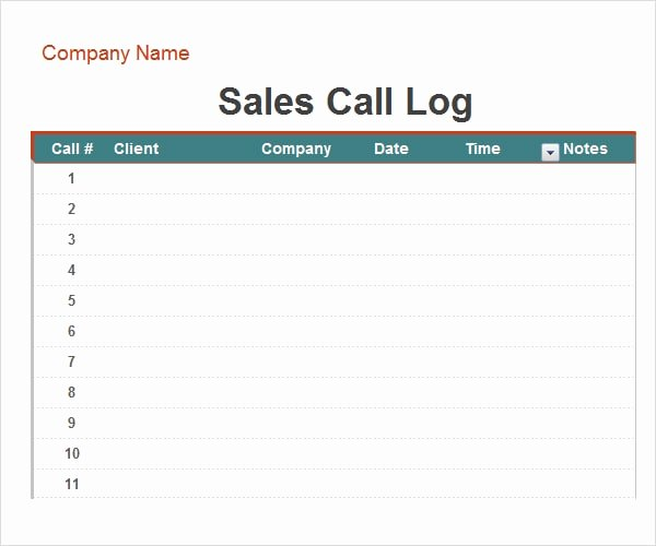 Free Call Log Template Fresh 3 Free Call Log Templates Word Excel Pdf formats