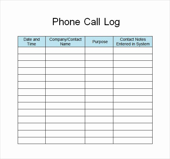 Free Call Log Template Fresh 30 Sample Log Template Documents In Pdf Word Excel