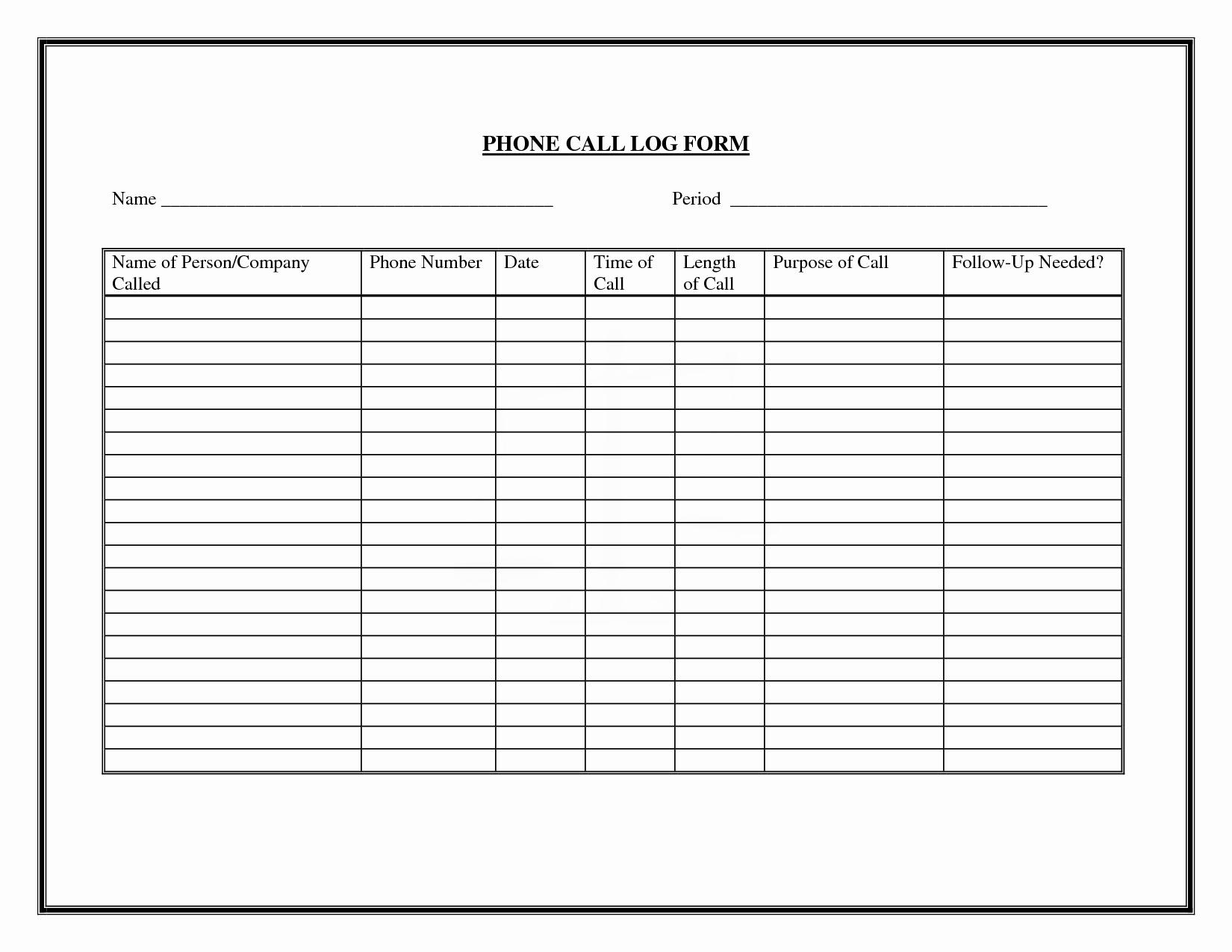 Free Call Log Template Lovely 8 Free Printable Phone Log Examples Pdf