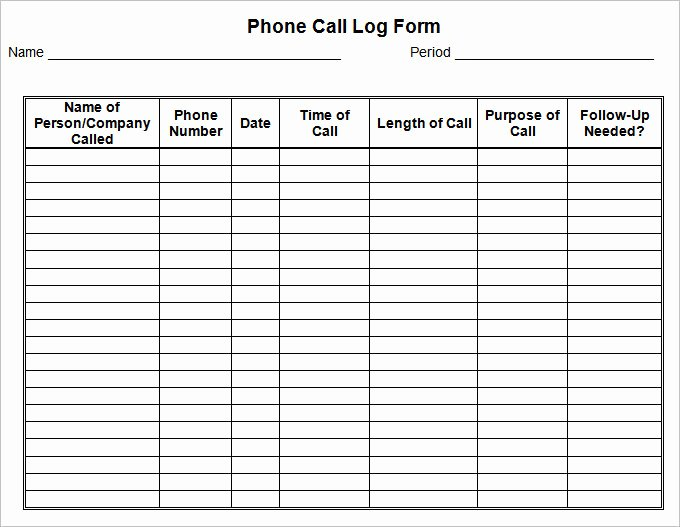 Free Call Log Template Unique 15 Call Log Templates Doc Pdf Excel