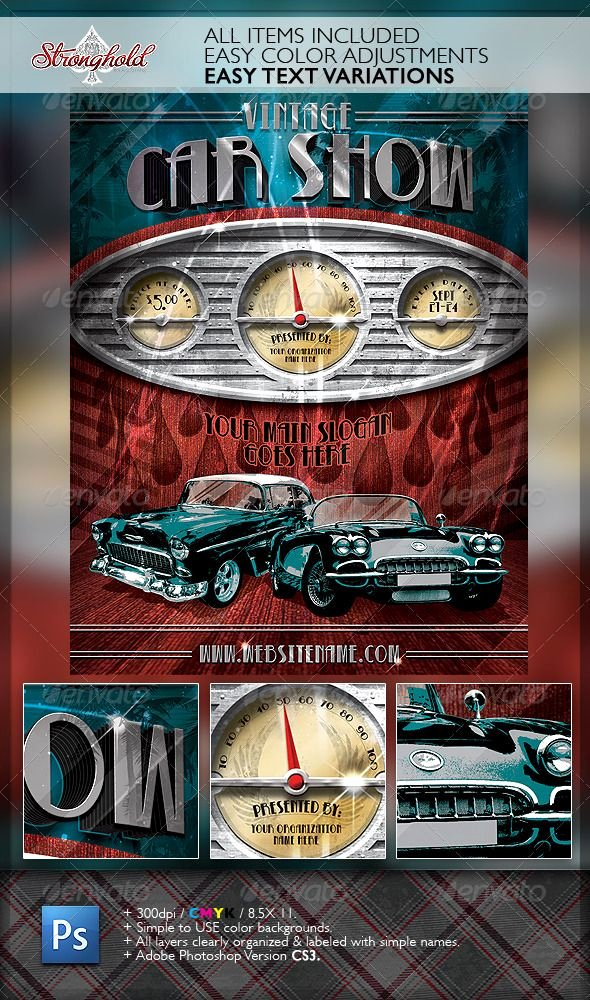 Free Car Show Flyer Template Lovely Vintage Car Show Dashboard Flyer Template