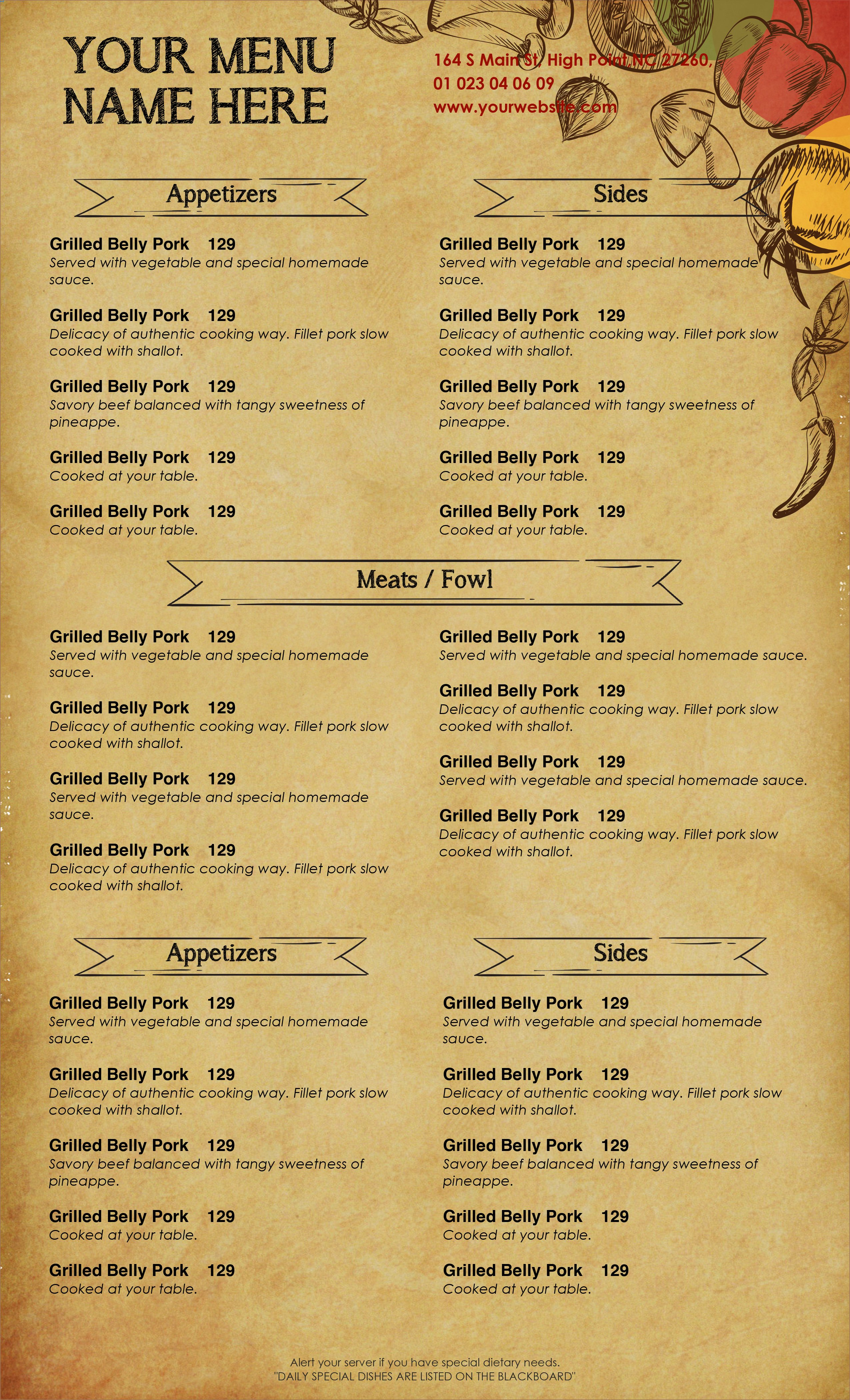 Free Catering Menu Templates Awesome Design & Templates Menu Templates Wedding Menu Food