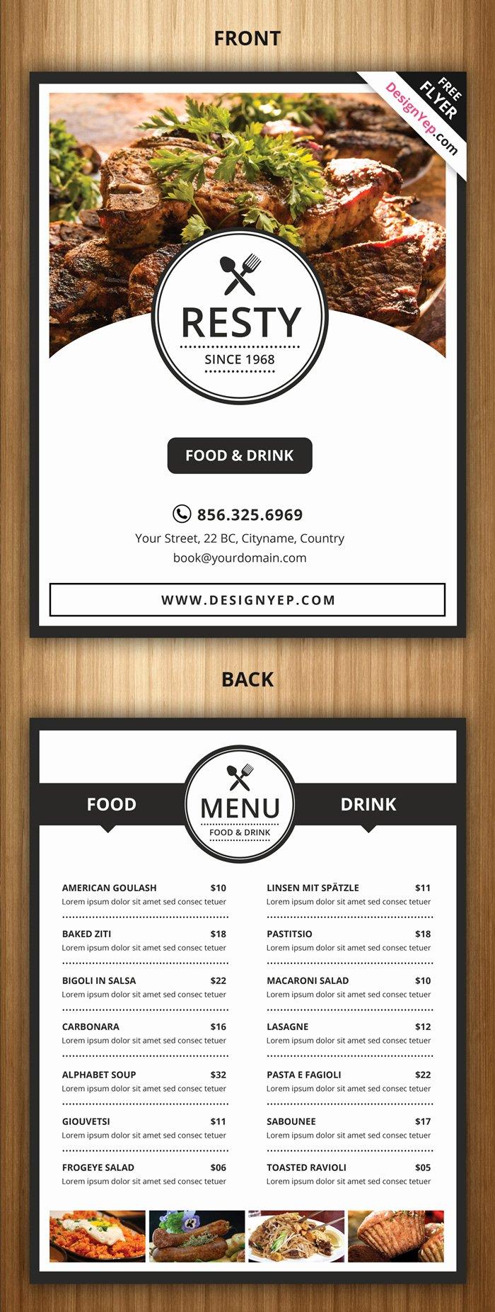 Free Catering Menu Templates Beautiful 21 Free Food Menu Templates for Restaurants Designyep