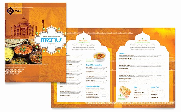 Free Catering Menu Templates Beautiful Indian Restaurant Menu Template Word & Publisher