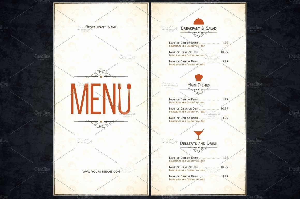 Free Catering Menu Templates Luxury Restaurant Menu Template Card Templates Creative Market