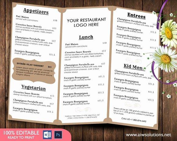 Free Catering Menu Templates Unique Food Menu Template Brochure Templates Creative Market