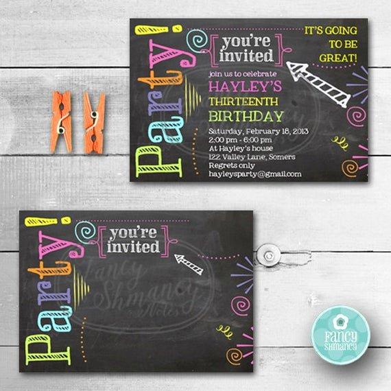 birthday invitation chalkboard