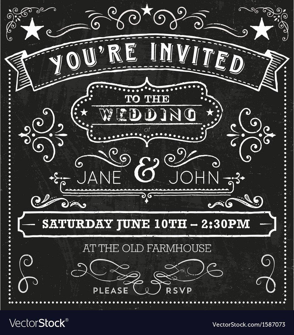 Free Chalkboard Invitation Templates Elegant Wedding Chalkboard Invitation Elements Royalty Free Vector
