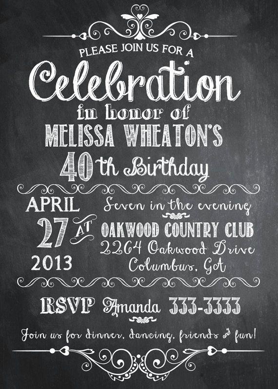 Free Chalkboard Invitation Templates Lovely Chalkboard Adult Birthday Party Invitation Printable