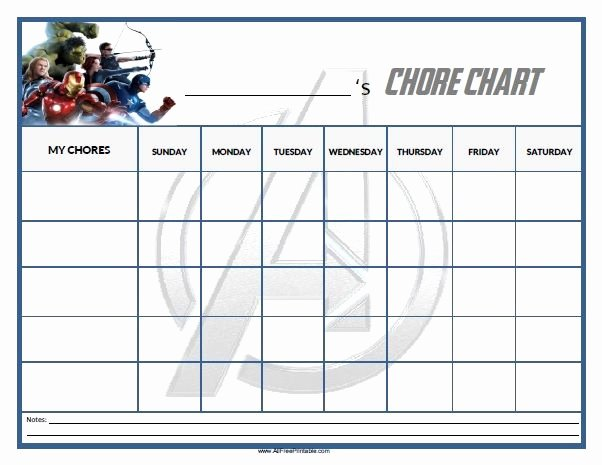 Free Chore Chart Template Beautiful Free Printable Avengers Chore Chart Home