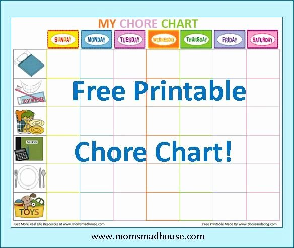 Free Chore Chart Template Best Of Free Printable Kids Chore Charts Templates