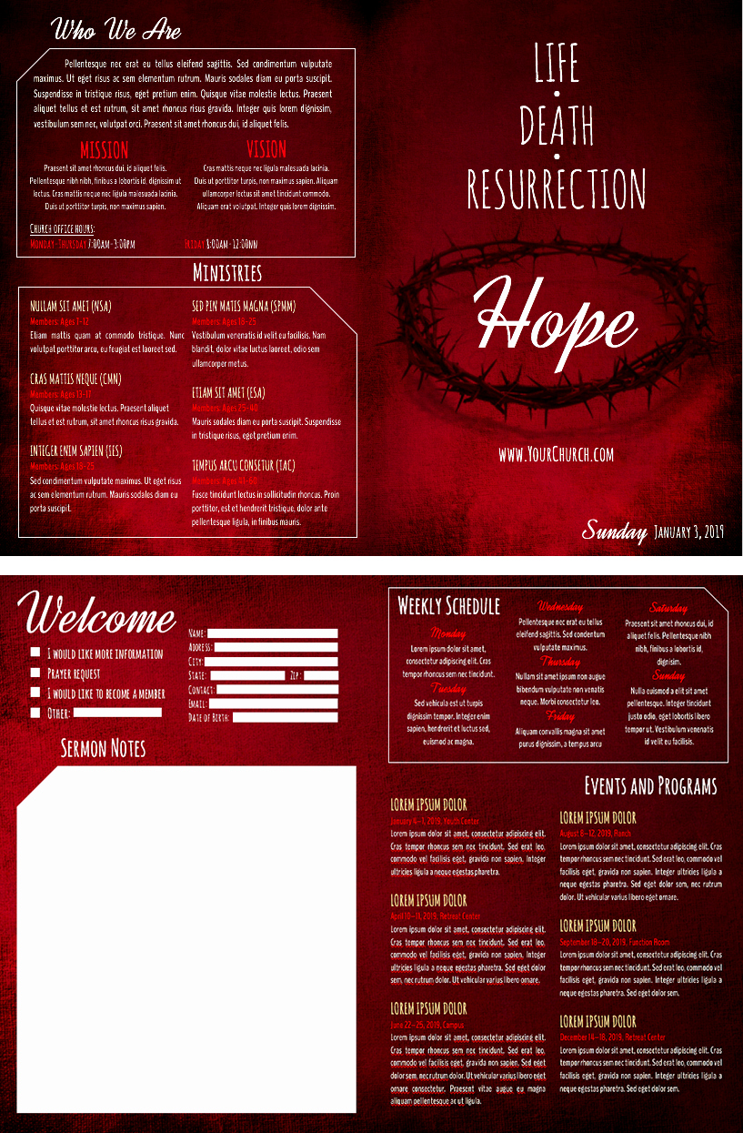 Free Church Bulletin Templates Awesome 8 Free Church Bulletin Templates