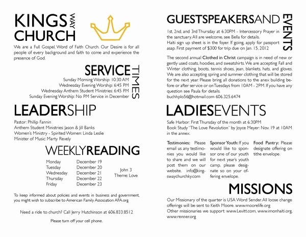 Free Church Bulletin Templates Elegant Church Bulletin Layout Ideas Yahoo Search Results