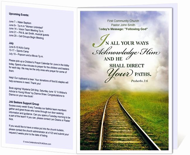 Free Church Bulletin Templates Lovely Church Bulletin Templates Railroad Church Bulletin