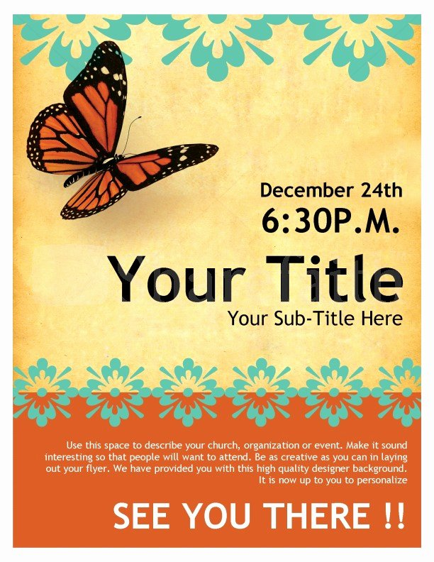 Free Church Flyer Templates Beautiful Church Flyer butterfly