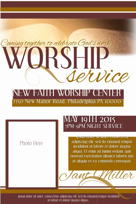 Free Church Flyer Templates Lovely Worship Service Template