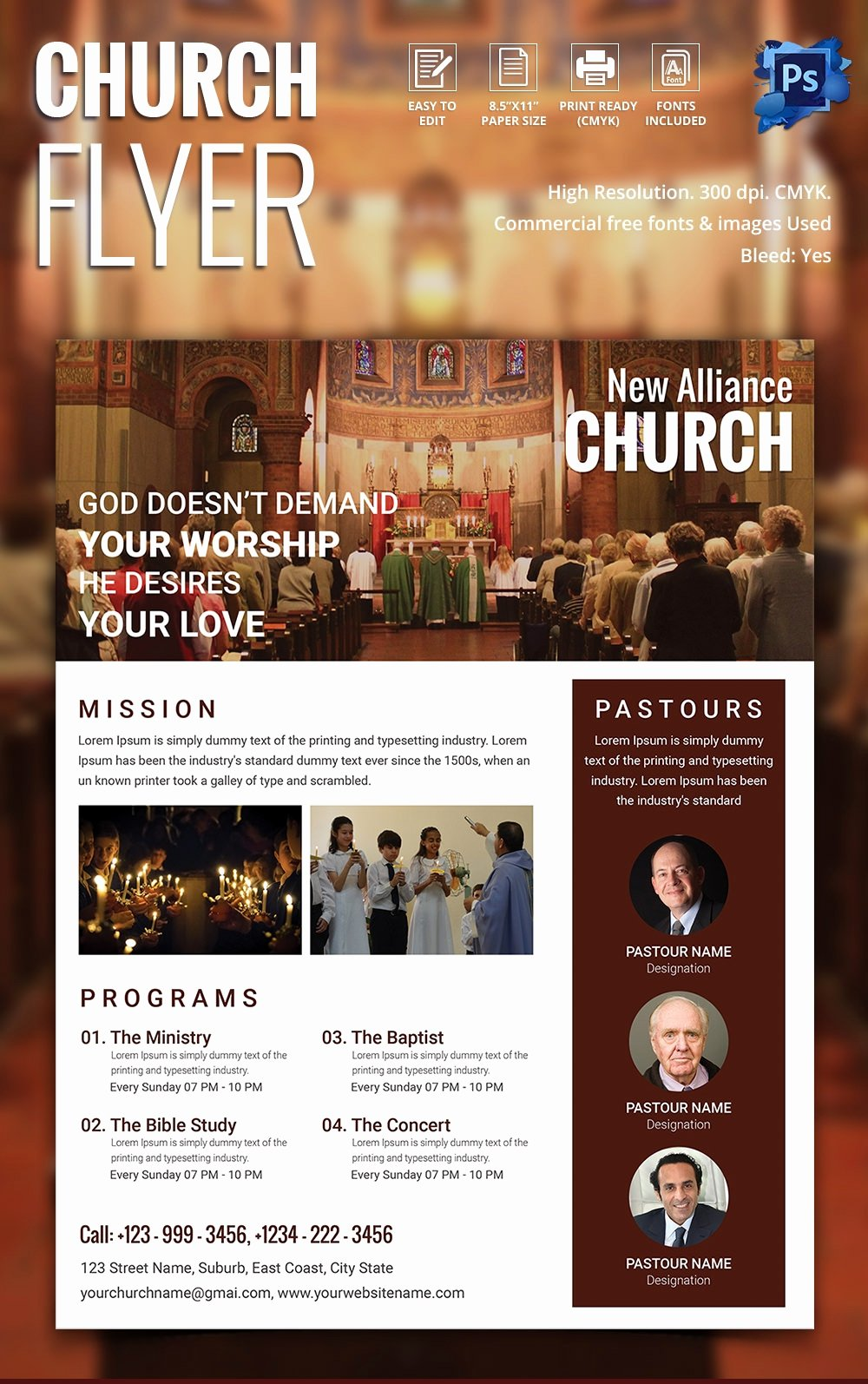 Free Church Flyer Templates Luxury Church Flyers 26 Free Psd Ai Vector Eps format