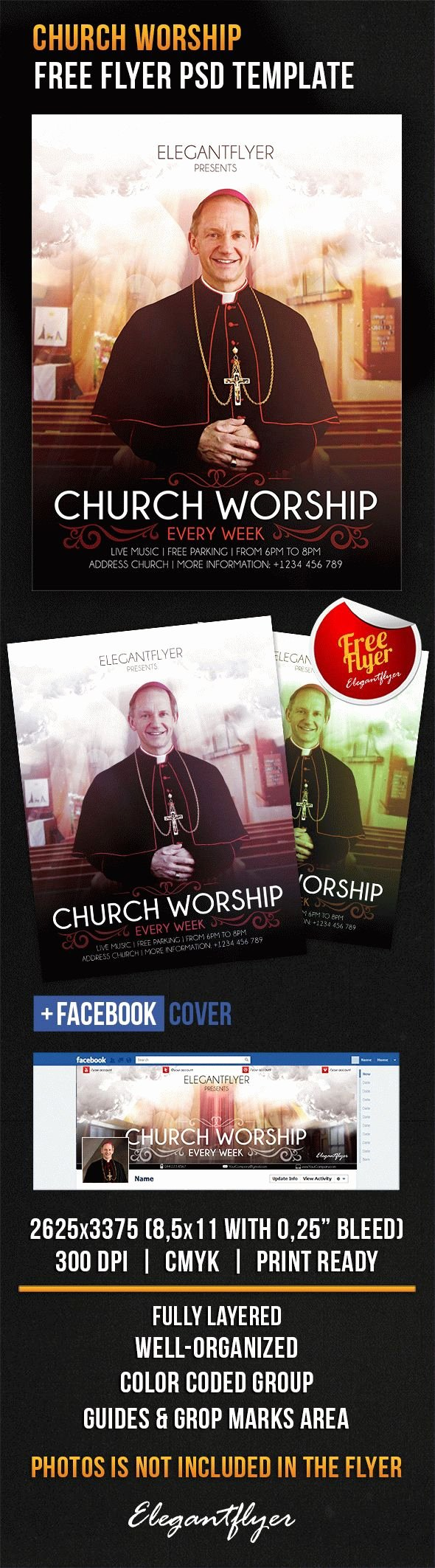 Free Church Flyer Templates New Church Worship – Free Flyer Psd Template – by Elegantflyer