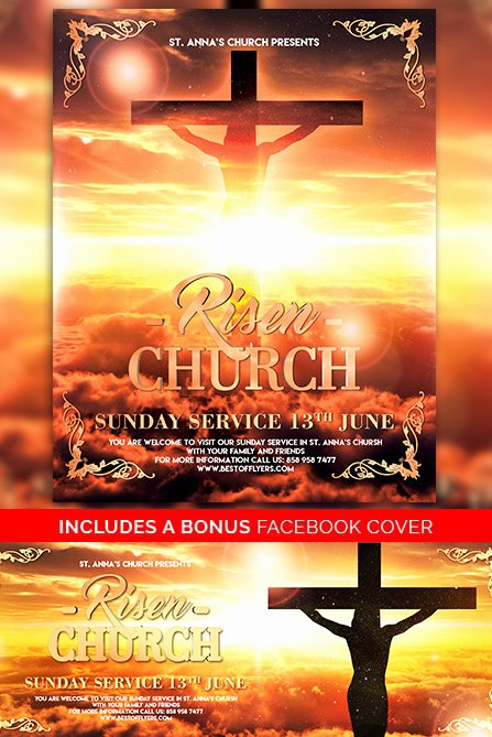 Free Church Flyer Templates Psd Awesome Risen Church Free Poster Template