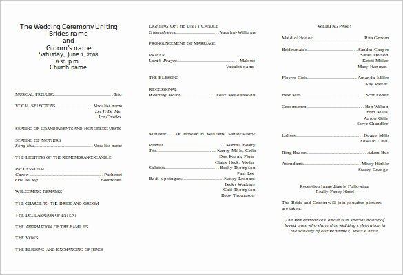Free Church Program Template Beautiful 8 Word Wedding Program Templates Free Download