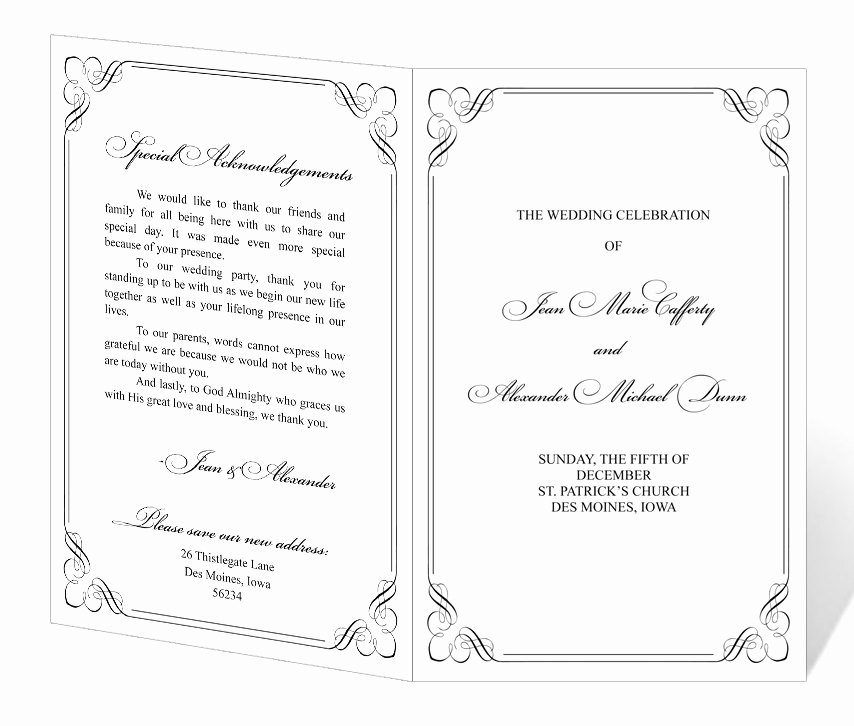 Free Church Program Template Elegant Wedding Program Template Printable Instant Download