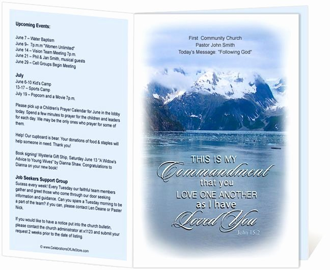 Free Church Program Template Fresh Church Bulletins Snowy Love E Another Mandment