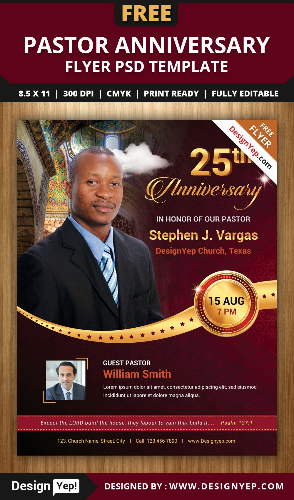 Free Church Program Template Inspirational Free Pastor Anniversary Flyer Psd Template Designyep