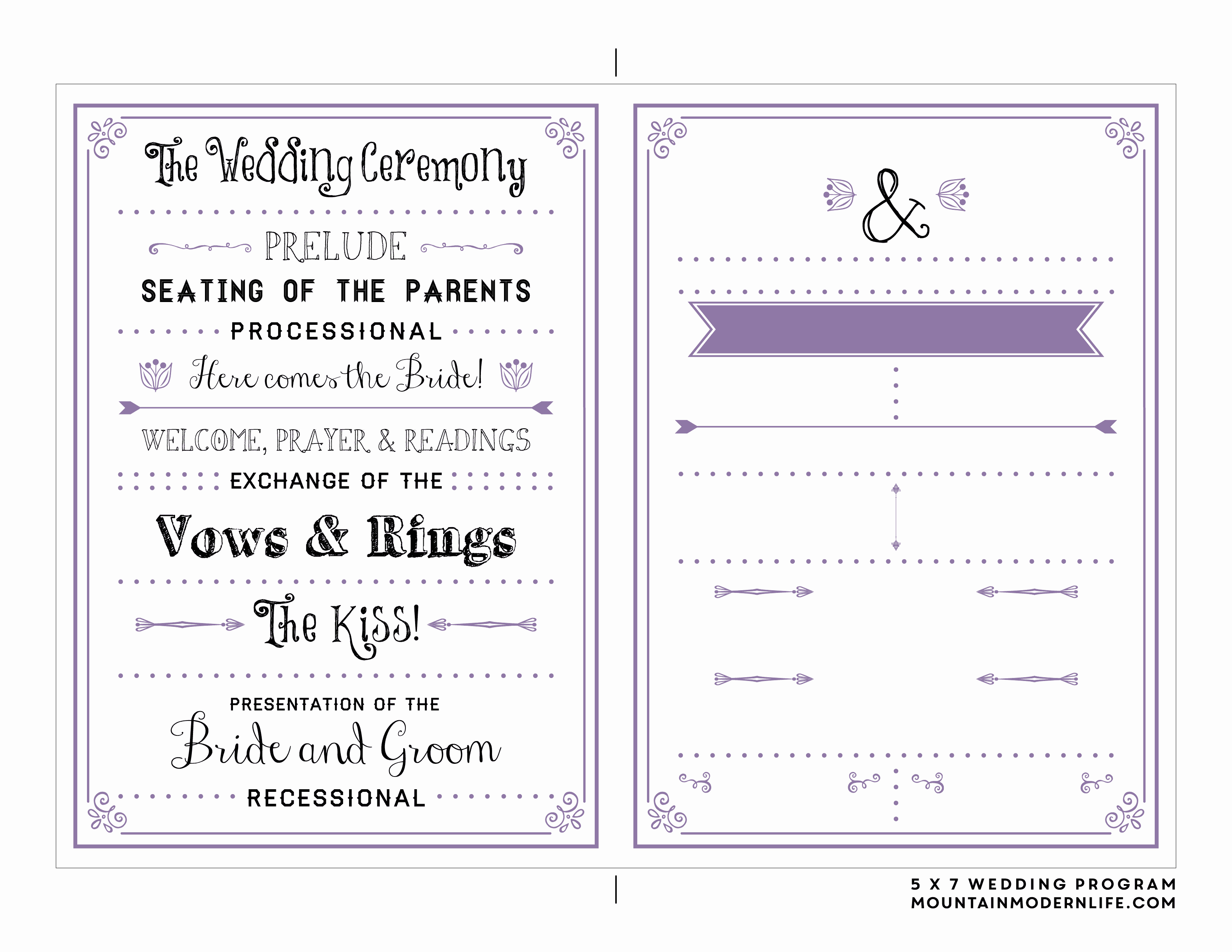 Free Church Program Template Inspirational Free Printable Wedding Program