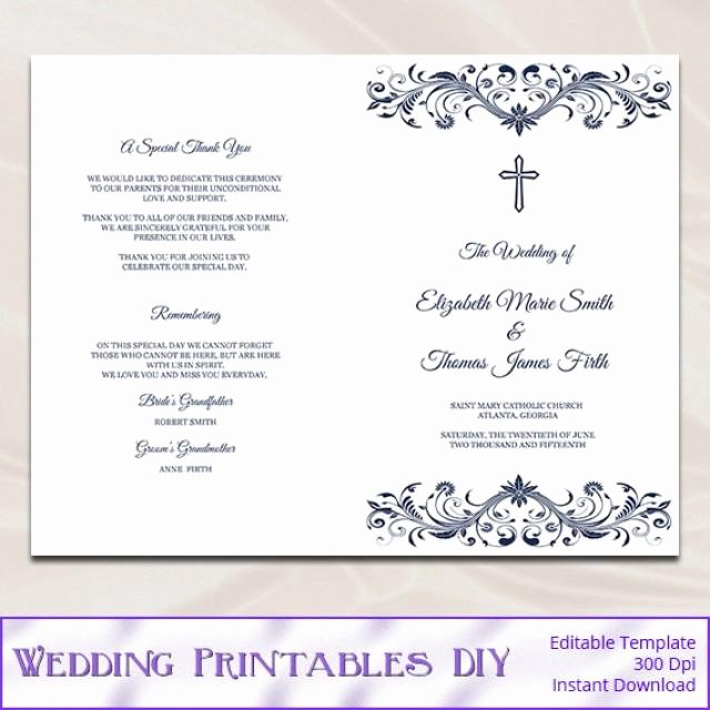 Free Church Program Template Lovely Catholic Wedding Program Template Diy Navy Blue Cross