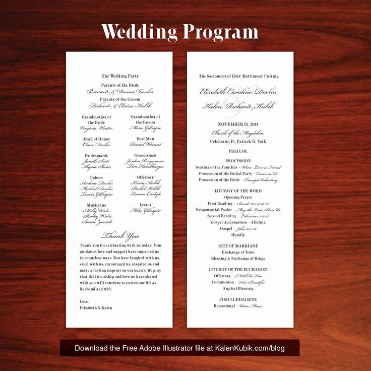Free Church Program Template Lovely Free Diy Catholic Wedding Program Ai Template I M A