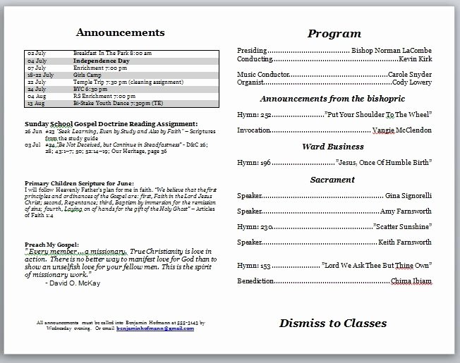 Free Church Programs Template Awesome Church Program Template