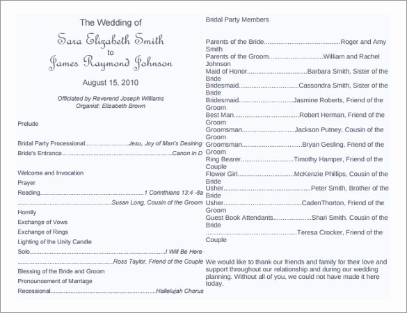 Free Church Programs Template Best Of 8 Word Wedding Program Templates Free Download