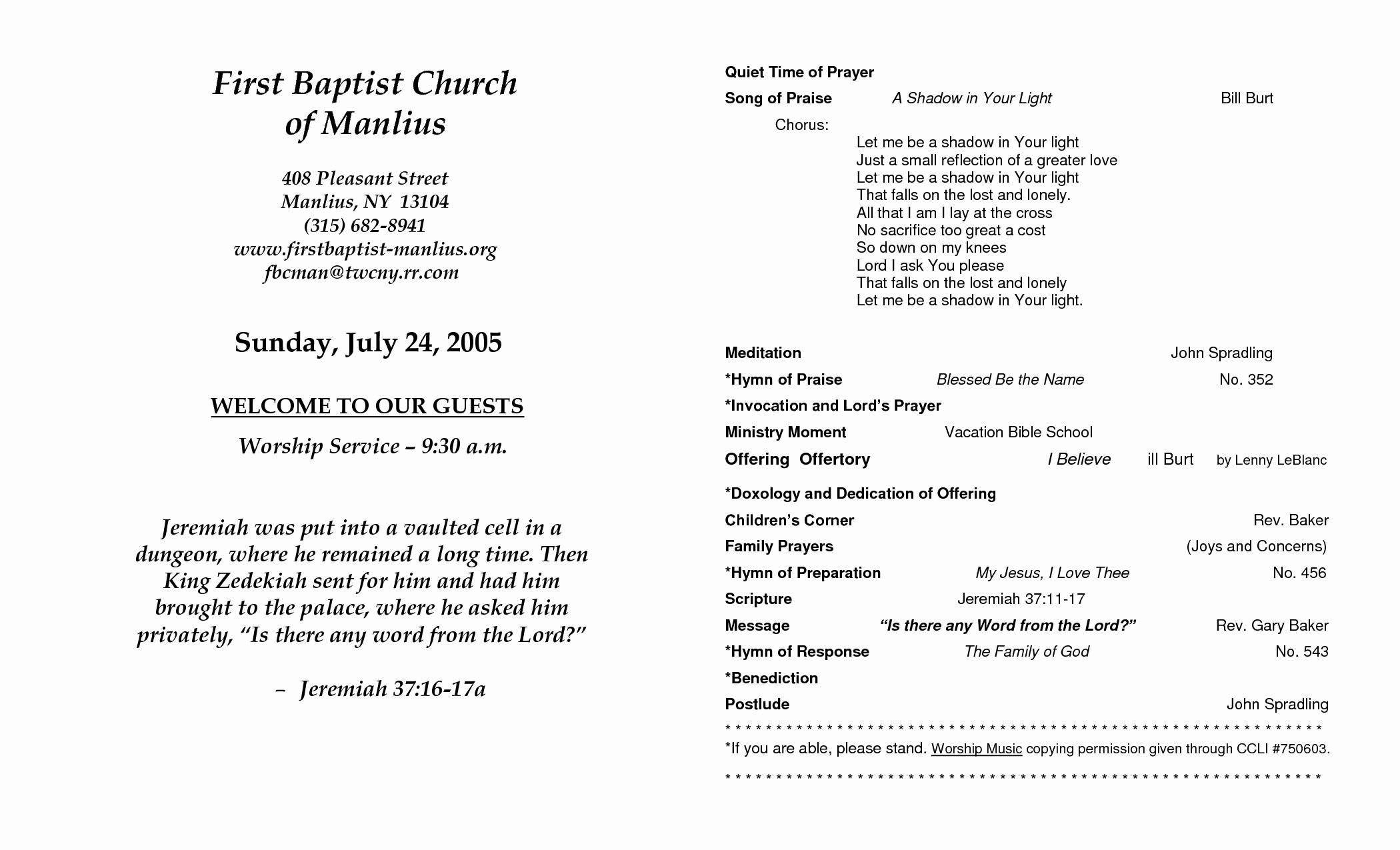 Free Church Programs Template Fresh Church Program Template