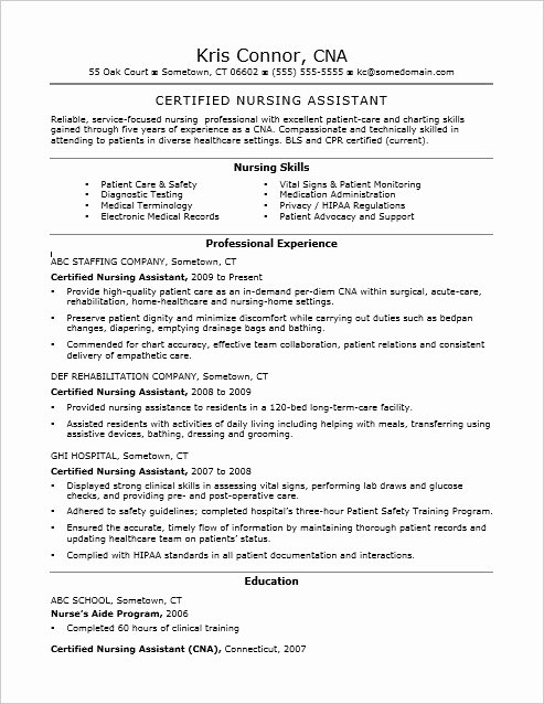 Free Cna Resume Templates Awesome Cna Resume Examples Skills for Cnas