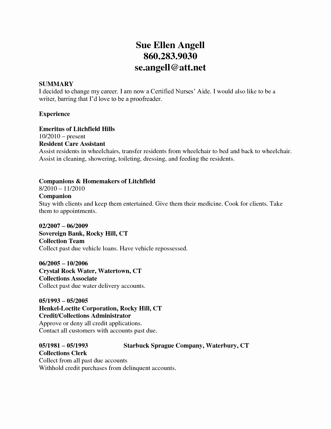 Free Cna Resume Templates Awesome Cna Resume Samples